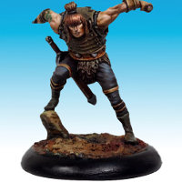 Human warrior with daggers in 1/50 scale - Blades #2 for Bounty Hunters for the Dark Age wargame from CoolMiniOrNot - Miniature figure review