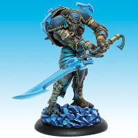Huge humanoid warrior in 1/50 scale - Death's Device of Ice #1 for the Ice Caste faction of the Dragyri for the Dark Age wargame from CoolMiniOrNot, 2016 - Miniature figure review