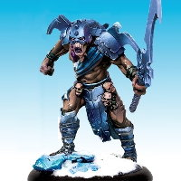 Huge humanoid warrior in 1/50 scale - Death's Device of Ice #2 for the Ice Caste faction of the Dragyri for the Dark Age wargame from CoolMiniOrNot, 2017 - Miniature figure review