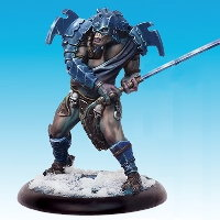 Huge humanoid warrior in 1/50 scale - Death's Device of Ice #3 for the Ice Caste faction of the Dragyri for the Dark Age wargame from CoolMiniOrNot, 2017 - Miniature figure review