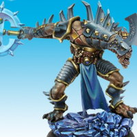 Huge humanoid warrior in 1/50 scale - Luck-kit-kaii, the Arbiter of Fate for the Ice Caste faction of the Dragyri for the Dark Age wargame from CoolMiniOrNot, 2005 - Miniature figure review
