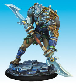 Huge humanoid warrior in 1/50 scale - Soul Searcher #2 for the Ice Caste faction of the Dragyri for the Dark Age wargame from CoolMiniOrNot, 2017 - Miniature figure review