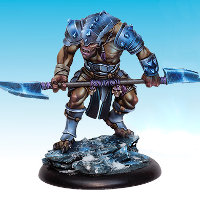 Huge humanoid warrior in 1/50 scale - Soul Searcher #3 for the Ice Caste faction of the Dragyri for the Dark Age wargame from CoolMiniOrNot, 2017 - Miniature figure review