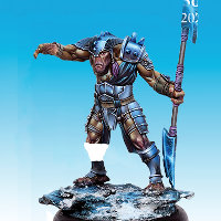 Huge humanoid warrior in 1/50 scale - Soul Searcher #4 for the Ice Caste faction of the Dragyri for the Dark Age wargame from CoolMiniOrNot, 2017 - Miniature figure review
