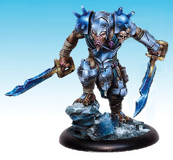 Huge humanoid warrior in 1/50 scale - Spirit Lord of Ice #2 for the Ice Caste faction of the Dragyri for the Dark Age wargame from CoolMiniOrNot, 2017 - Miniature figure review