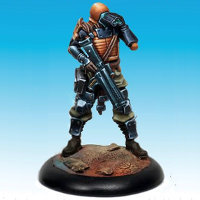 Futuristic warrior in 1/50 scale - Controller #2 for the Dark Age wargame from CoolMiniOrNot, 2016 - Miniature figure review