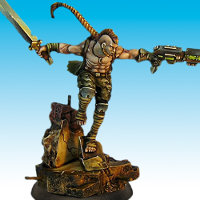 Huge humanoid warrior in 1/50 scale - Soul Searcher #1 for the Ice Caste faction of the Dragyri for the Dark Age wargame from CoolMiniOrNot, 2017 - Miniature figure review