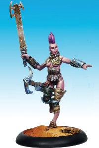 Human female warrior with sword and gun in 1/50 scale - Wasteland Warrior #4 for the Outcasts for the Dark Age wargame from CoolMiniOrNot - Miniature figure review