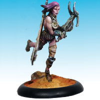Human female warrior with sword and gun in 1/50 scale - Wasteland Warrior #6 for the Outcasts for the Dark Age wargame from CoolMiniOrNot - Miniature figure review