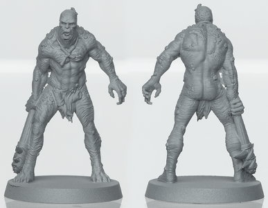 Humanoid warrior in 1/50 scale - Clay Man for the Mercenaries for HATE boardgame from CoolMiniOrNot, 2019 - Miniature figure review