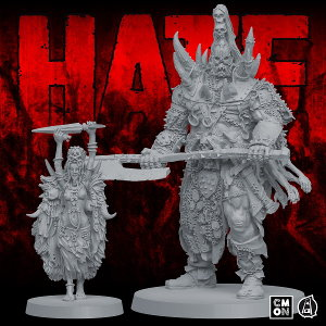 Um'Gra Prince miniature figure 1:50 scale comparison to Um'Gra Shaman from the HATE boardgame base set