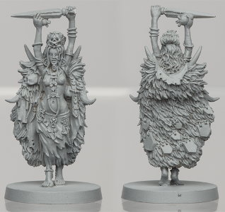Humanoid warrior in 1/50 scale - Um'Gra Shaman for the Um'Gra Tribe for HATE boardgame from CoolMiniOrNot, 2019 - Miniature figure review