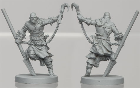 Humanoid warrior in 1/50 scale - Um'Gra Youngblood for the Um'Gra Tribe for HATE boardgame from CoolMiniOrNot, 2019 - Miniature figure review