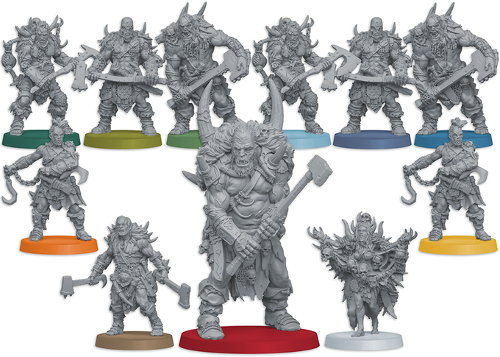 Um'Kator Tribe miniatures in the HATE boardgame base set
