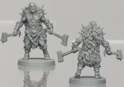 Humanoid warrior in 1/50 scale - Um'Kator Champion for the Um'Kator Tribe for HATE boardgame from CoolMiniOrNot, 2019 - Miniature figure review