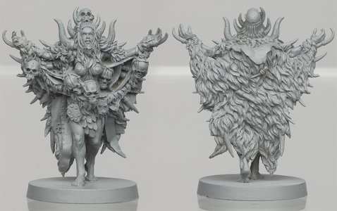 Humanoid warrior in 1/50 scale - Um'Kator Shaman for the Um'Kator Tribe for HATE boardgame from CoolMiniOrNot, 2019 - Miniature figure review