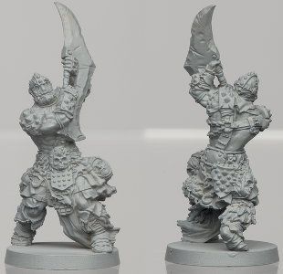 Humanoid warrior in 1/50 scale - Um'Rak Warrior #3 for the Um'Rak Tribe for HATE boardgame from CoolMiniOrNot, 2019 - Miniature figure review