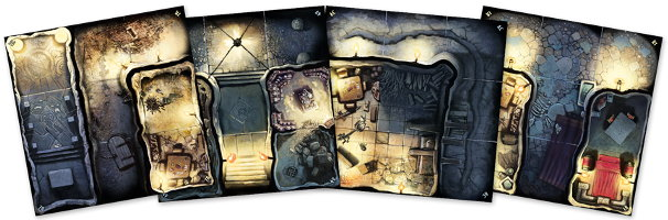 Fantasy dungeon game tile kit in 1/50 scale - Massive Darkness Base Set game tiles for Massive Darkness from CMON, 2017 - Miniature scenery review