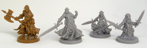 Size comparison of the miniatures from the Massive Darkness base set. From left to right: Bjorn, Orc Agent, Goblin Agent, Dwarf Agent.