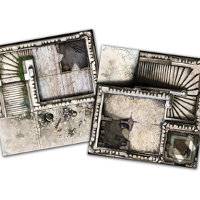 Medieval tower game tile kit in 1/50 scale - Wulfsburg game tiles for Zombicide: Black Plague from CMON, 2016 - Miniature scenery review
