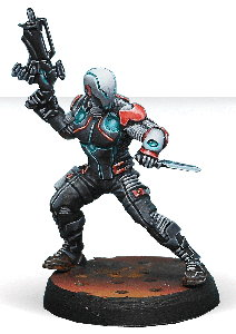 Futuristic warrior in 1/50 scale - Spektr with Combi-rifle for the Nomads for the Infinity wargame from Corvus Belli, 2014 - Miniature figure review