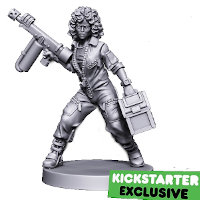 Futuristic female with flamethrower - Ella Ridley (Ellen Ripley) for Neo-Morphosis board game from Dark Gate Games, 2021 - Miniature figure review