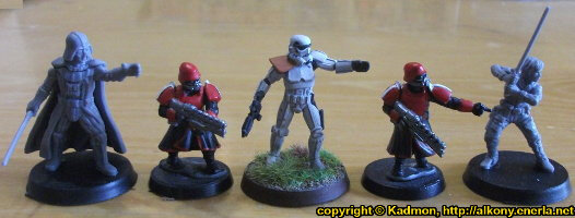 Size comparison of Star Wars: Legion Core Set miniatures from Fantasy Flight Games with 1:56 (28mm / 32mm) scale miniature figures. From left to right: Darth Vader for Star Wars: Legion, Shock Trooper from Wargames Factory, Stormtrooper #5 for Star Wars: Legion, Shock Trooper from Wargames Factory, Luke Skywalker for Star Wars: Legion.
