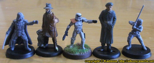 Size comparison of Star Wars: Legion Core Set miniatures from Fantasy Flight Games with 1:56 (28mm / 32mm) scale miniature figures. From left to right: Darth Vader for Star Wars: Legion, 40mm high shepherd, Stormtrooper #5 for Star Wars: Legion, 54mm high soldier, Luke Skywalker for Star Wars: Legion.