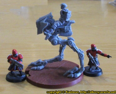 Size comparison of Star Wars: Legion Core Set miniatures from Fantasy Flight Games with 1:50 (35mm) scale miniature figures. From left to right: Shock Trooper from Wargames Factory, AT-RT for Star Wars: Legion, Shock Trooper from Wargames Factory.
