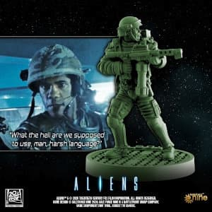 Futuristic soldier in modern armour with flamethrower - Frost for Aliens board game from Gale Force Nine, 2020 - Miniature figure review
