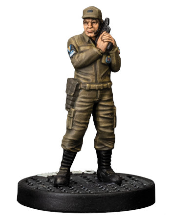 Modern soldier with pistol - Gorman for Aliens board game from Gale Force Nine, 2020 - Miniature figure review