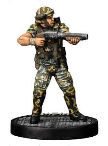 Futuristic soldier in modern armour with shotgun - Hicks for Aliens board game from Gale Force Nine, 2020 - Miniature figure review