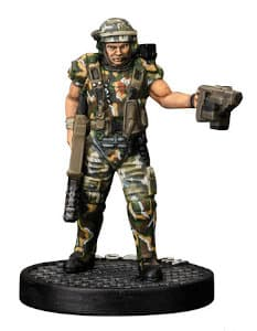 Futuristic soldier in modern armour with assault rifle and scanner - Hudson for Aliens board game from Gale Force Nine, 2020 - Miniature figure review