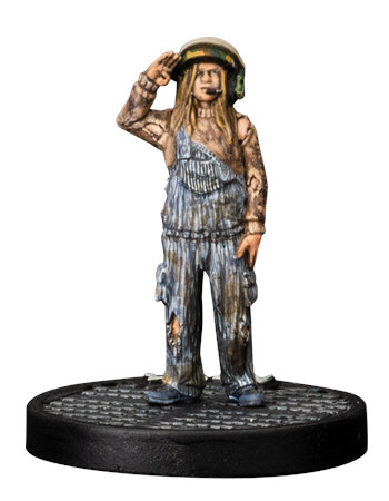 Kid saluting in helmet - Newt for Aliens board game from Gale Force Nine, 2020 - Miniature figure review