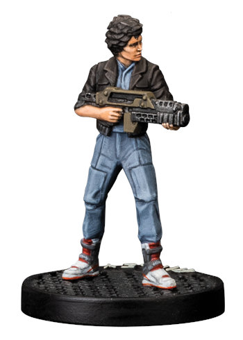 Futuristic female with assault rifle - Ripley for Aliens board game from Gale Force Nine, 2020 - Miniature figure review