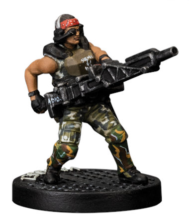 Futuristic soldier in modern armour with machine gun - Vasquez for Aliens board game from Gale Force Nine, 2020 - Miniature figure review