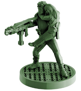 Futuristic female with assault rifle, carrying a child - Ripley carrying Newt for Aliens board game from Gale Force Nine, 2020 - Miniature figure review
