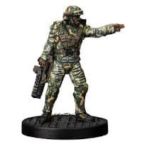 Futuristic soldier in modern armour with assault rifle - Apone for Aliens board game from Gale Force Nine, 2020 - Miniature figure review