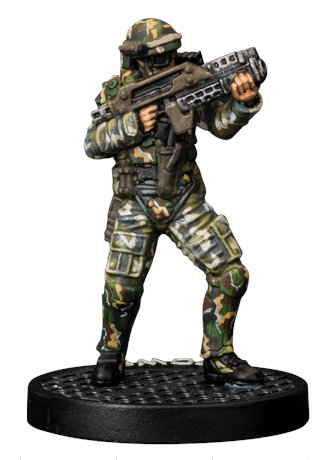 Futuristic soldier in modern armour with assault rifle - Crowe for Aliens board game from Gale Force Nine, 2020 - Miniature figure review