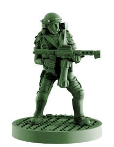 Futuristic soldier in modern armour with flamethrower - Dietrich for Aliens board game from Gale Force Nine, 2020 - Miniature figure review