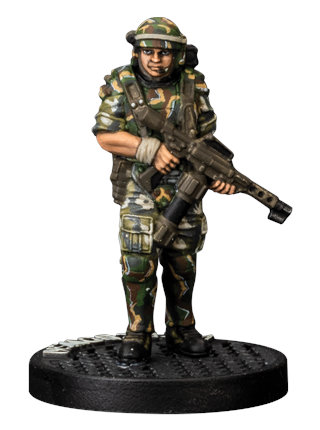Futuristic soldier in modern armour with flamethrower - Wierzbowski for Aliens board game from Gale Force Nine, 2020 - Miniature figure review