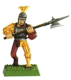 Medieval warrior with halberd in 1/56 scale - Empire Soldier with halberd for the Empire of Warhammer from Games Workshop, 1998 - Miniature figure review
