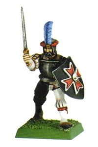 Medieval warrior with sword and shield in 1/56 scale - Empire Soldier with sword and shield for Warhammer from Games Workshop, 1998 - Miniature figure review