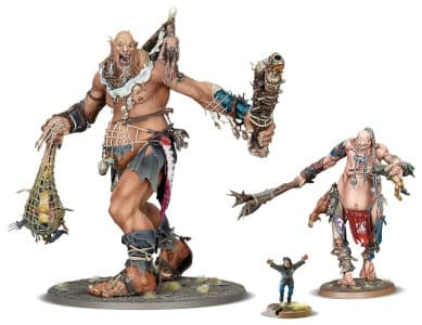 Giant warrior with club and net in 1/56 scale - Kraken-eater Mega-Gargant for Sons of Behemat of Warhammer: Age of Sigmar from Games Workshop, 2020 - Miniature figure review