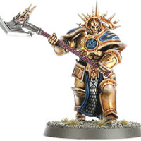 Large armoured warrior with greataxe in 1/56 scale - Decimator with Thunderaxe for the Stormcast Eternals of Warhammer: Age of Sigmar from Games Workshop, 2015 - Miniature figure review