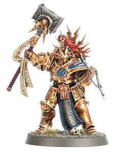 Large armoured warrior with war mallet in 1/56 scale - Retributor-Prime with Lightning Hammer #1 for the Stormcast Eternals of Warhammer: Age of Sigmar from Games Workshop, 2015 - Miniature figure review