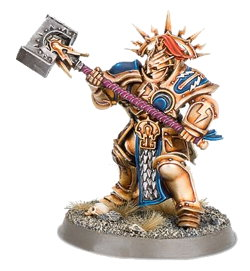 Large armoured warrior with war mallet in 1/56 scale - Retributor with Lightning Hammer #7 for the Stormcast Eternals of Warhammer: Age of Sigmar from Games Workshop, 2016 - Miniature figure review