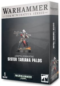 Futuristic female warrior in 1/56 scale - Sister Tariana Palos for Warhammer 40,000 Ed8 from Games Workshop, 2020 - Miniature figure review