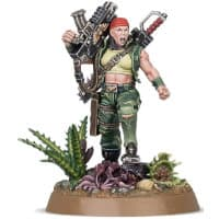 "Futuristic female warrior in 1/56 scale - Sergeant ""Ripper"" Jackson of the Catachan Astra Militarum for Warhammer 40,000 Ed9 from Games Workshop, 2020 - Miniature figure review"