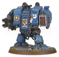 Combat walker in 1/56 scale (Space Marine Dreadnought for Warhammer 40.000 Ed8) from Games Workshop - Miniature figure review